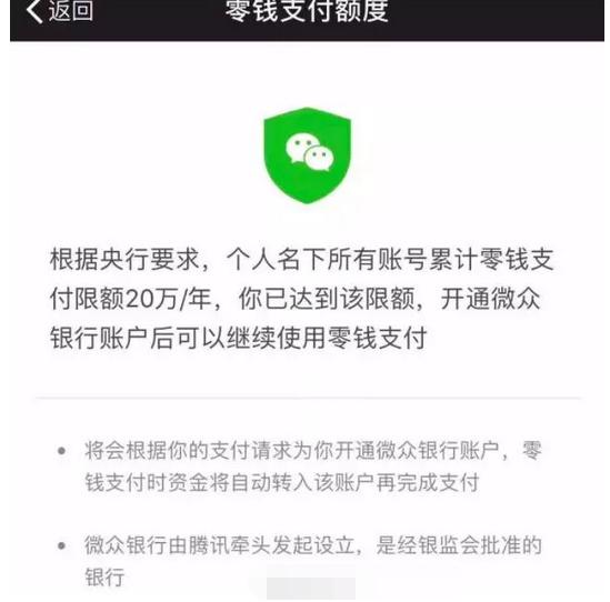 微信交易限额